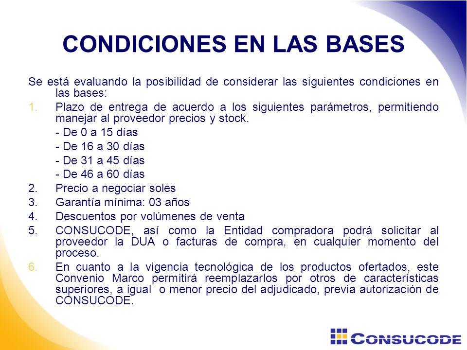 CONDICIONES EN LAS BASES Se está evaluando la posibilidad de considerar las siguientes condiciones en las bases: 1.Plazo de entrega de acuerdo a los siguientes parámetros, permitiendo manejar al proveedor precios y stock.