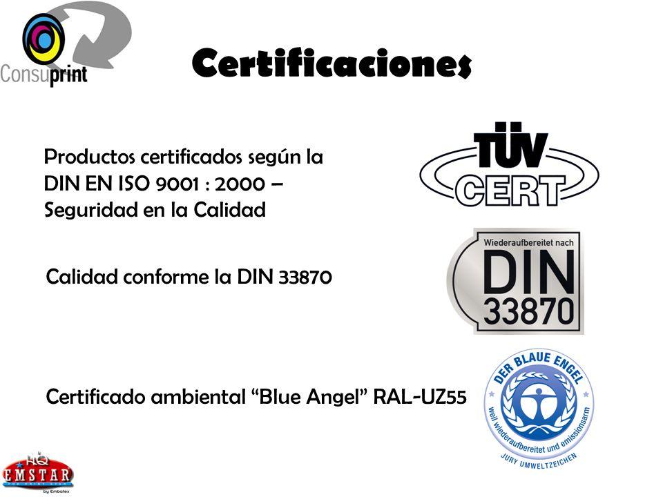 Certificaciones Productos certificados según la DIN EN ISO 9001 : 2000 – Seguridad en la Calidad Calidad conforme la DIN 33870 Certificado ambiental B