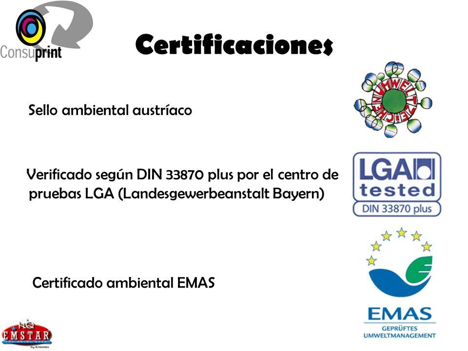 Certificaciones Sello ambiental austríaco Verificado según DIN 33870 plus por el centro de pruebas LGA (Landesgewerbeanstalt Bayern) Certificado ambie