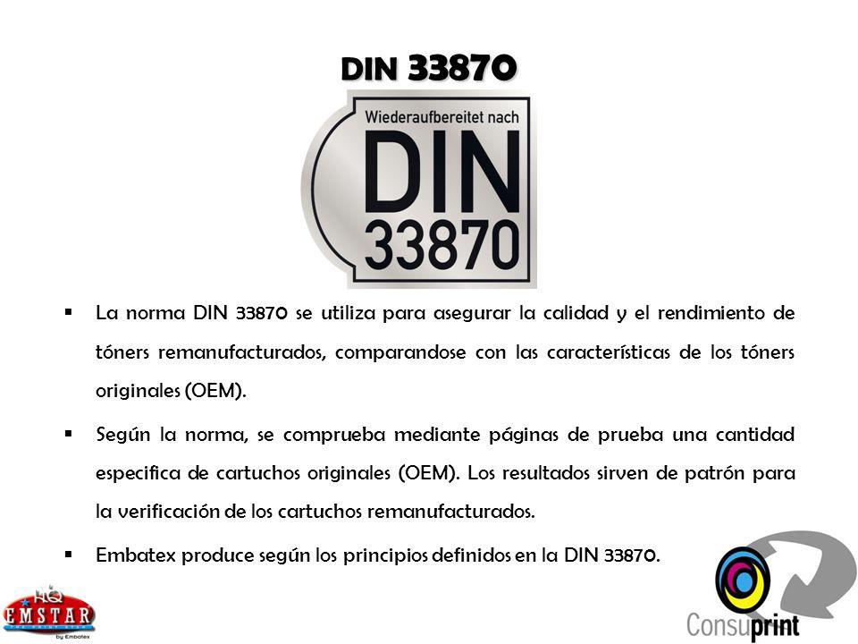 DIN 33870 La norma DIN 33870 se utiliza para asegurar la calidad y el rendimiento de tóners remanufacturados, comparandose con las características de