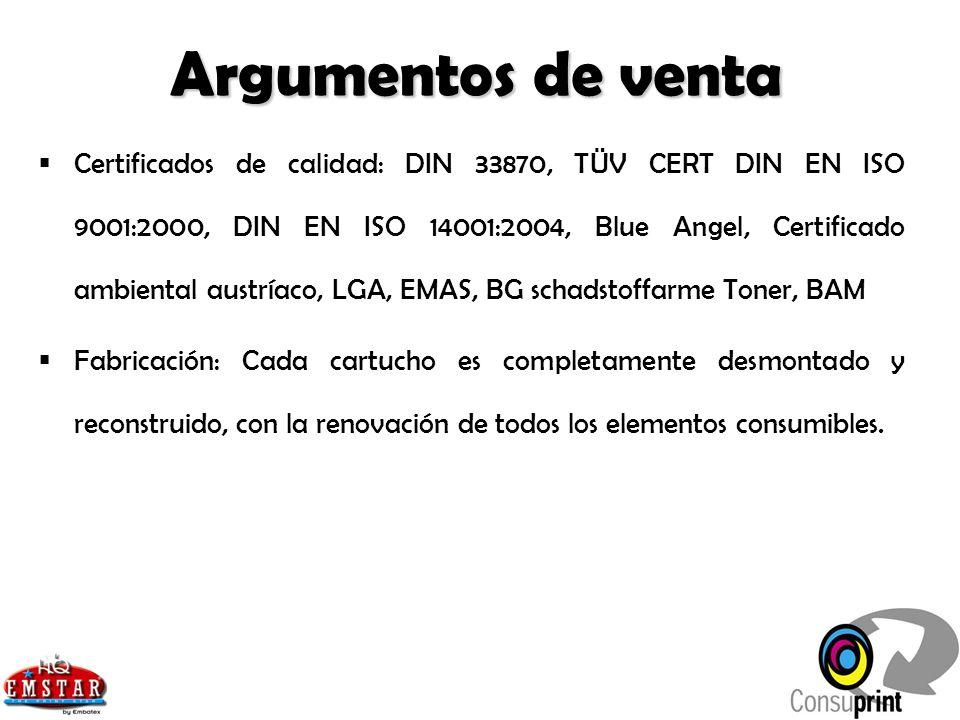 Certificados de calidad: DIN 33870, TÜV CERT DIN EN ISO 9001:2000, DIN EN ISO 14001:2004, Blue Angel, Certificado ambiental austríaco, LGA, EMAS, BG s