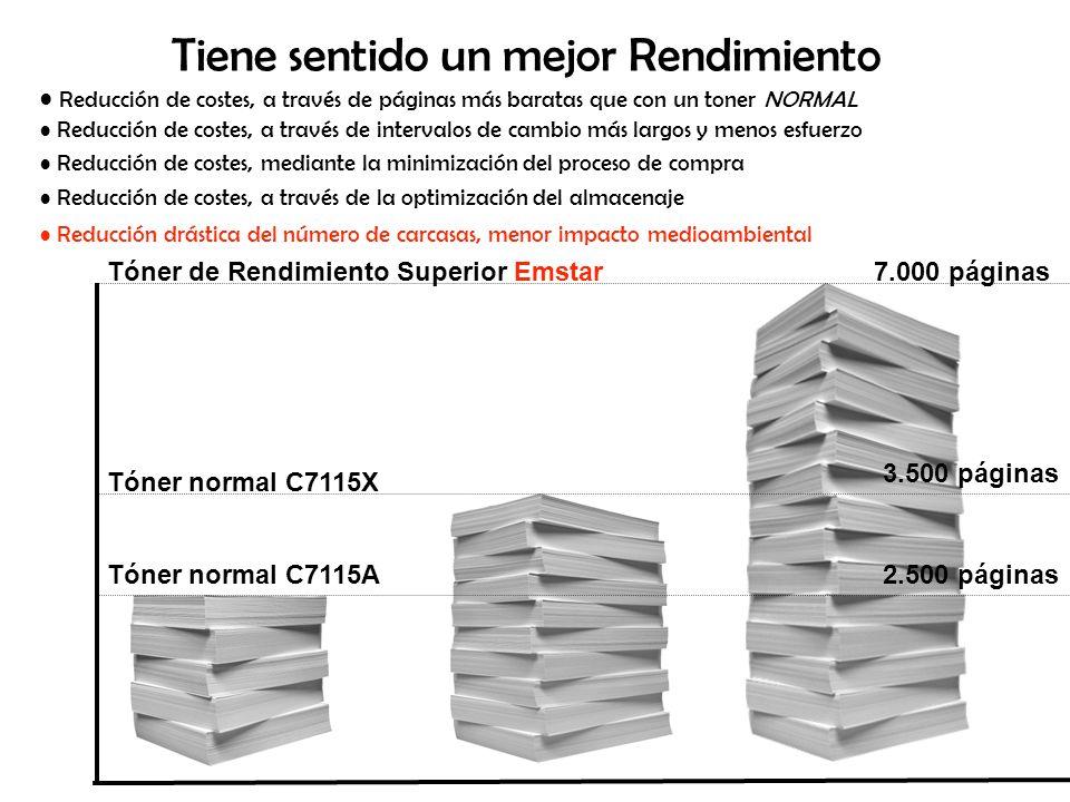 Tasa de Transferencia OEM, aproximadamente 75% Emstar, hasta un 95% o sea, 25% queda sin utilización o sea, sólo un 5% se queda en el en el colector de restos de tóner colector de restos de tóner