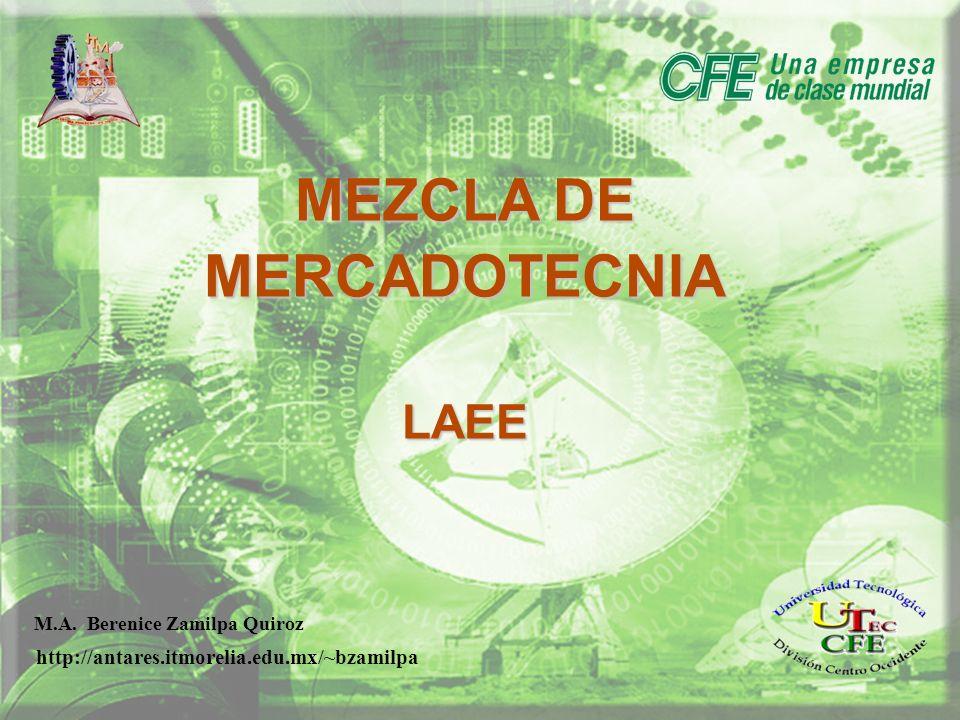 MEZCLA DE MERCADOTECNIA LAEE M.A. Berenice Zamilpa Quiroz http://antares.itmorelia.edu.mx/~bzamilpa