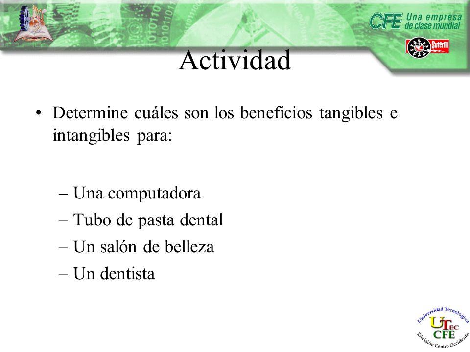 Actividad Determine cuáles son los beneficios tangibles e intangibles para: –Una computadora –Tubo de pasta dental –Un salón de belleza –Un dentista