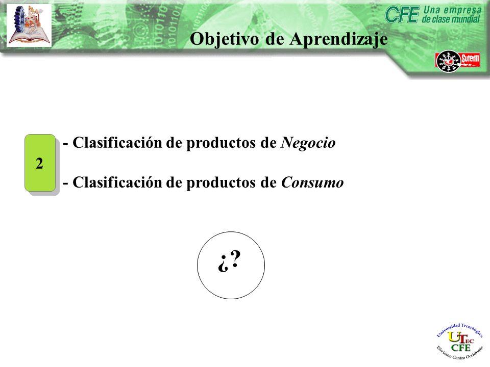 - Clasificación de productos de Negocio - Clasificación de productos de Consumo 2 2 Objetivo de Aprendizaje ¿?