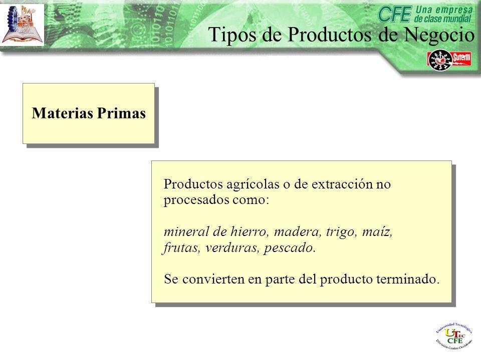 Materias Primas Productos agrícolas o de extracción no procesados como: mineral de hierro, madera, trigo, maíz, frutas, verduras, pescado.