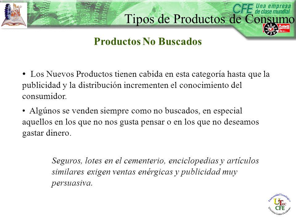 Productos No Buscados Los Nuevos Productos tienen cabida en esta categoría hasta que la publicidad y la distribución incrementen el conocimiento del consumidor.
