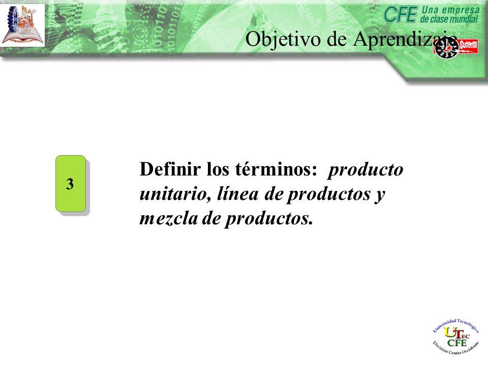 Definir los términos: producto unitario, línea de productos y mezcla de productos.