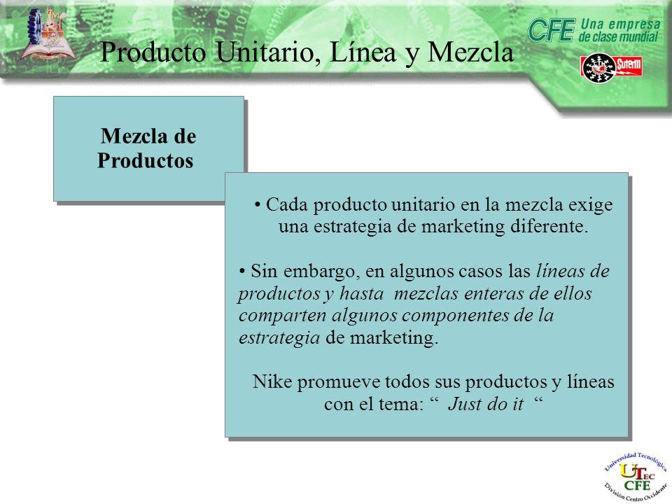Producto Unitario, Línea y Mezcla Mezcla de Productos Mezcla de Productos Cada producto unitario en la mezcla exige una estrategia de marketing diferente.