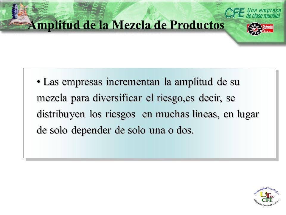 Amplitud de la Mezcla de Productos Las empresas incrementan la amplitud de su mezcla para diversificar el riesgo,es decir, se distribuyen los riesgos en muchas líneas, en lugar de solo depender de solo una o dos.