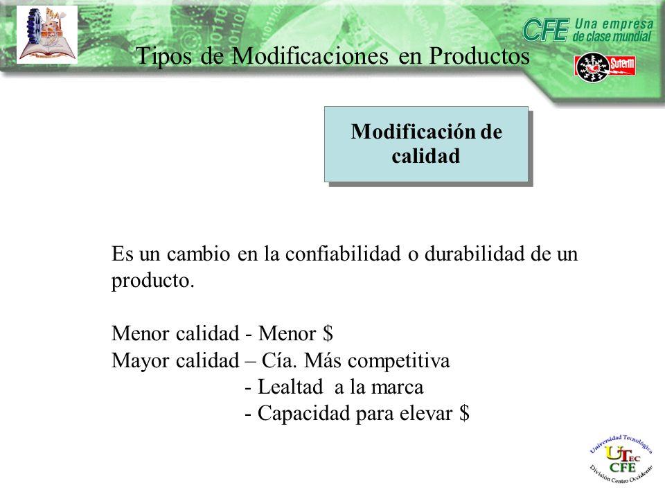 Modificación de calidad Es un cambio en la confiabilidad o durabilidad de un producto.