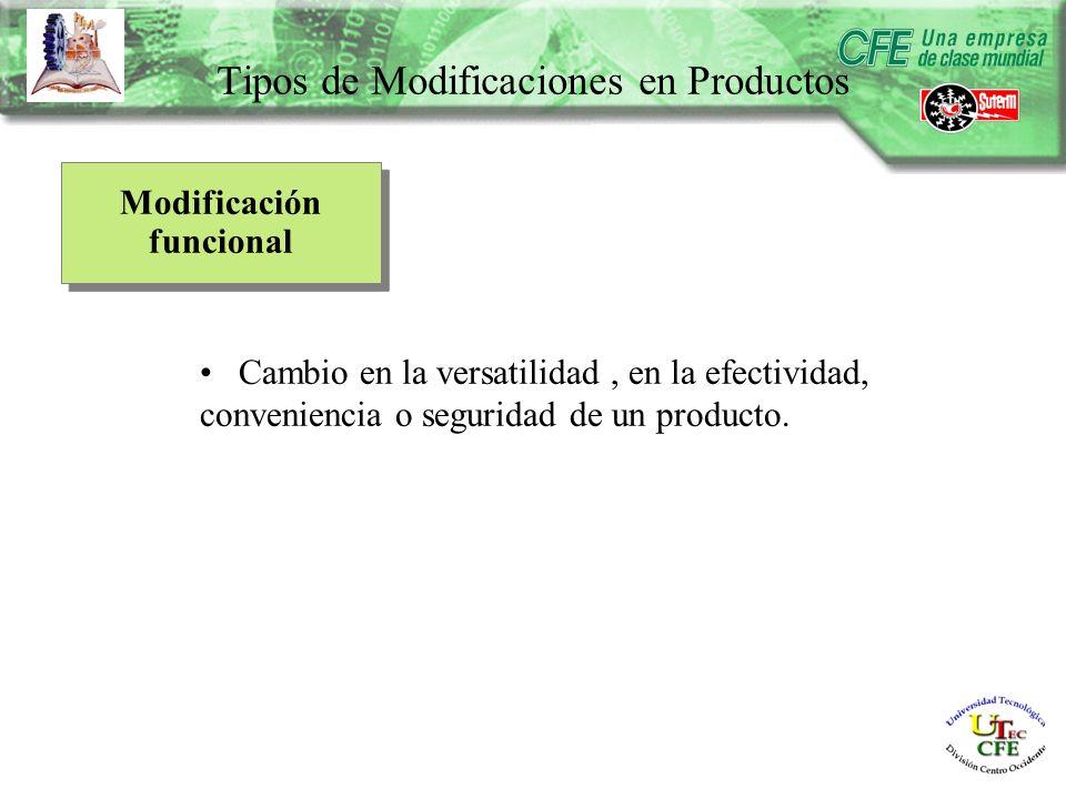 Modificación funcional Cambio en la versatilidad, en la efectividad, conveniencia o seguridad de un producto.