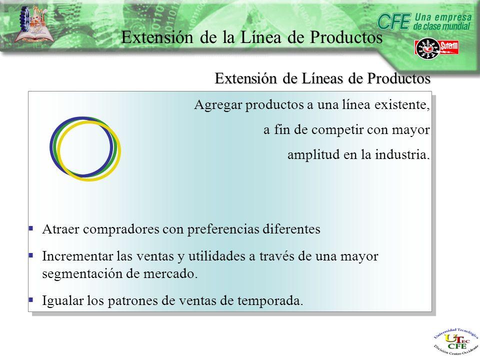 Extensión de la Línea de Productos Atraer compradores con preferencias diferentes Incrementar las ventas y utilidades a través de una mayor segmentación de mercado.