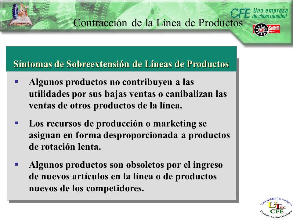 Contracción de la Línea de Productos Síntomas de Sobreextensión de Líneas de Productos Algunos productos no contribuyen a las utilidades por sus bajas ventas o canibalizan las ventas de otros productos de la línea.