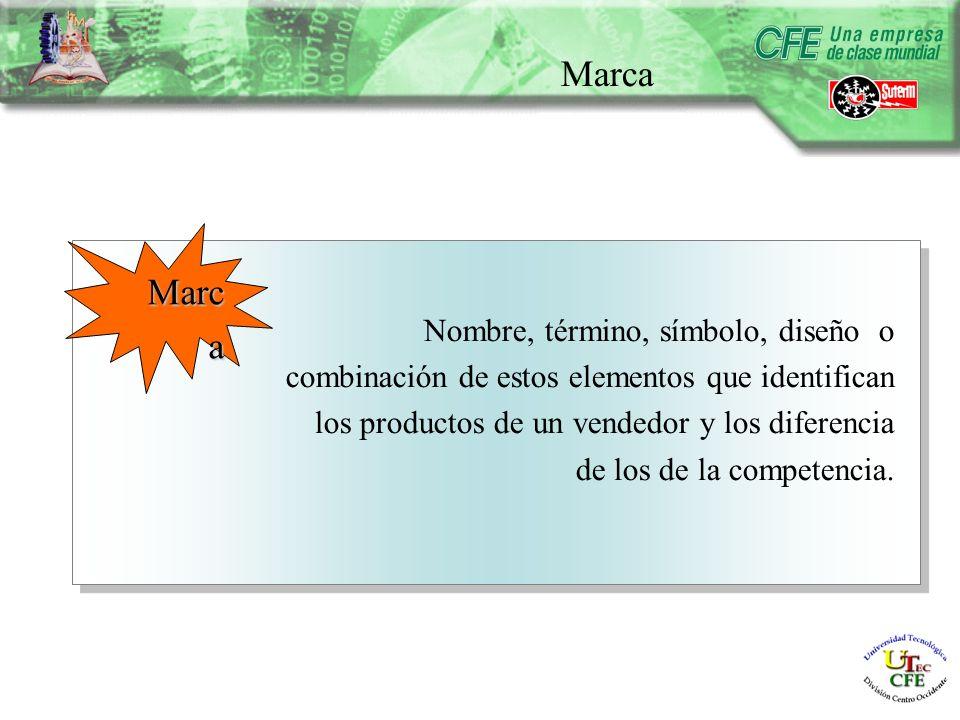 Marca Nombre, término, símbolo, diseño o combinación de estos elementos que identifican los productos de un vendedor y los diferencia de los de la competencia.