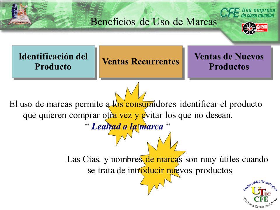 Beneficios de Uso de Marcas Identificación del Producto Identificación del Producto Ventas Recurrentes Ventas de Nuevos Productos El uso de marcas permite a los consumidores identificar el producto que quieren comprar otra vez y evitar los que no desean.