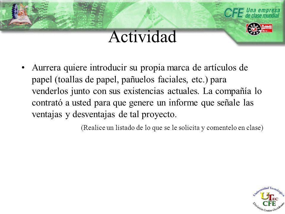 Actividad Aurrera quiere introducir su propia marca de artículos de papel (toallas de papel, pañuelos faciales, etc.) para venderlos junto con sus existencias actuales.
