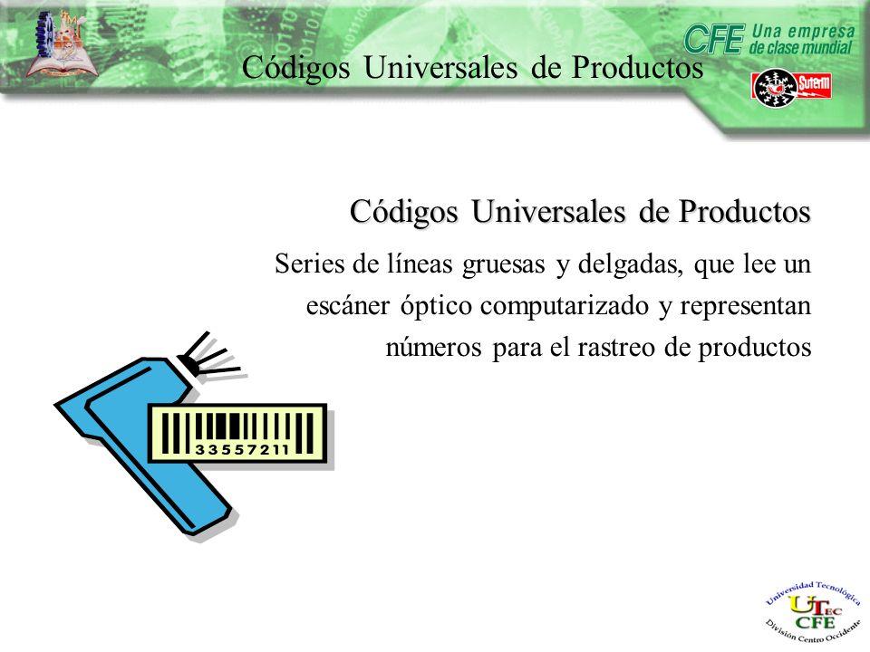 Códigos Universales de Productos Series de líneas gruesas y delgadas, que lee un escáner óptico computarizado y representan números para el rastreo de productos
