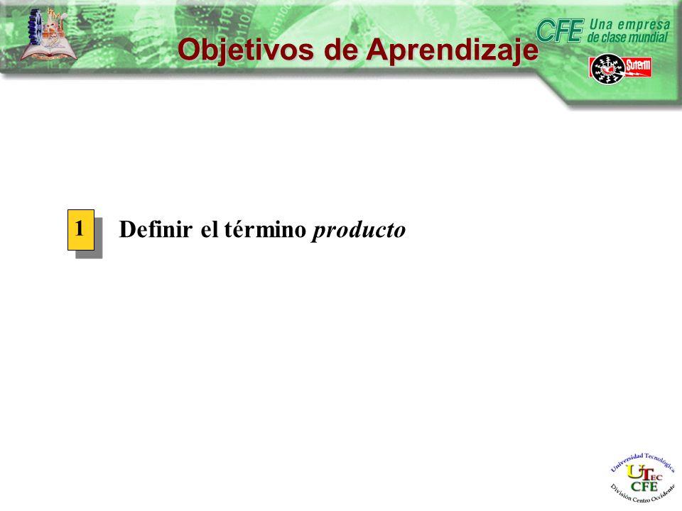 Objetivos de Aprendizaje Definir el término producto 1