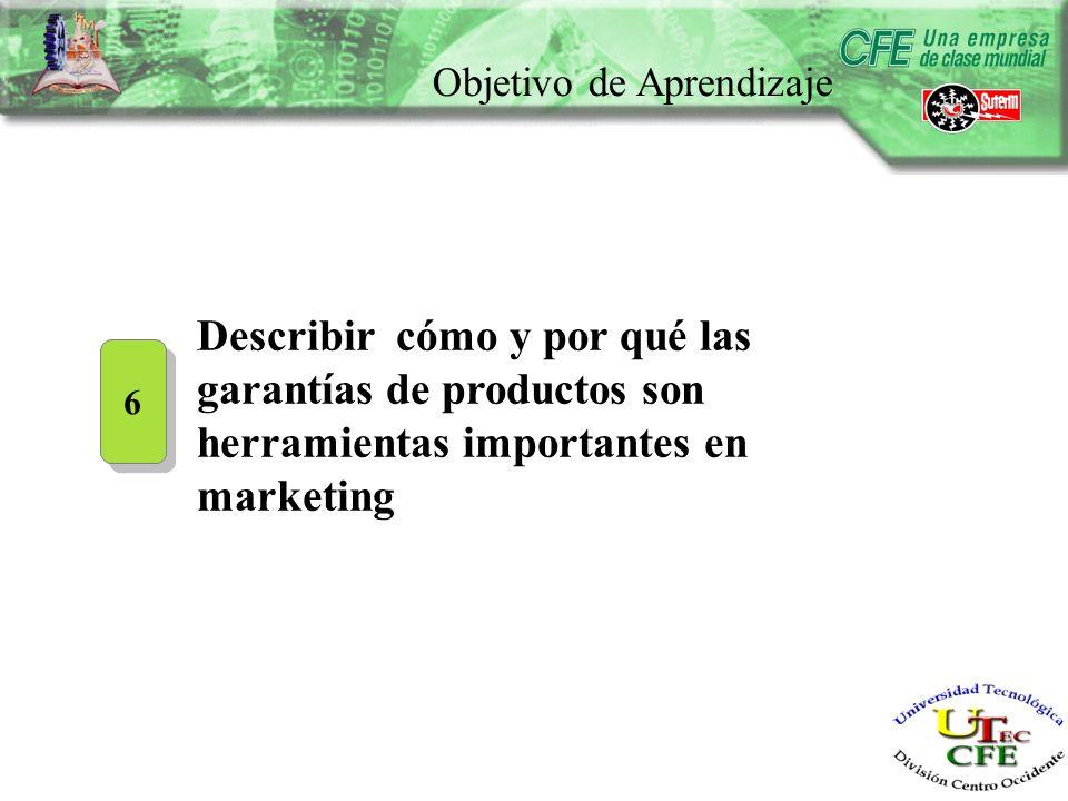 Objetivo de Aprendizaje 6 6 Describir cómo y por qué las garantías de productos son herramientas importantes en marketing