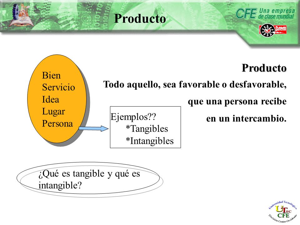 Producto Todo aquello, sea favorable o desfavorable, que una persona recibe en un intercambio.