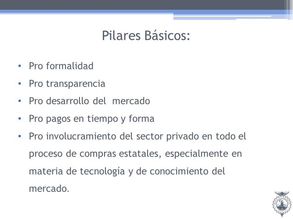 Pilares Básicos: Pro formalidad Pro transparencia Pro desarrollo del mercado Pro pagos en tiempo y forma Pro involucramiento del sector privado en todo el proceso de compras estatales, especialmente en materia de tecnología y de conocimiento del mercado.