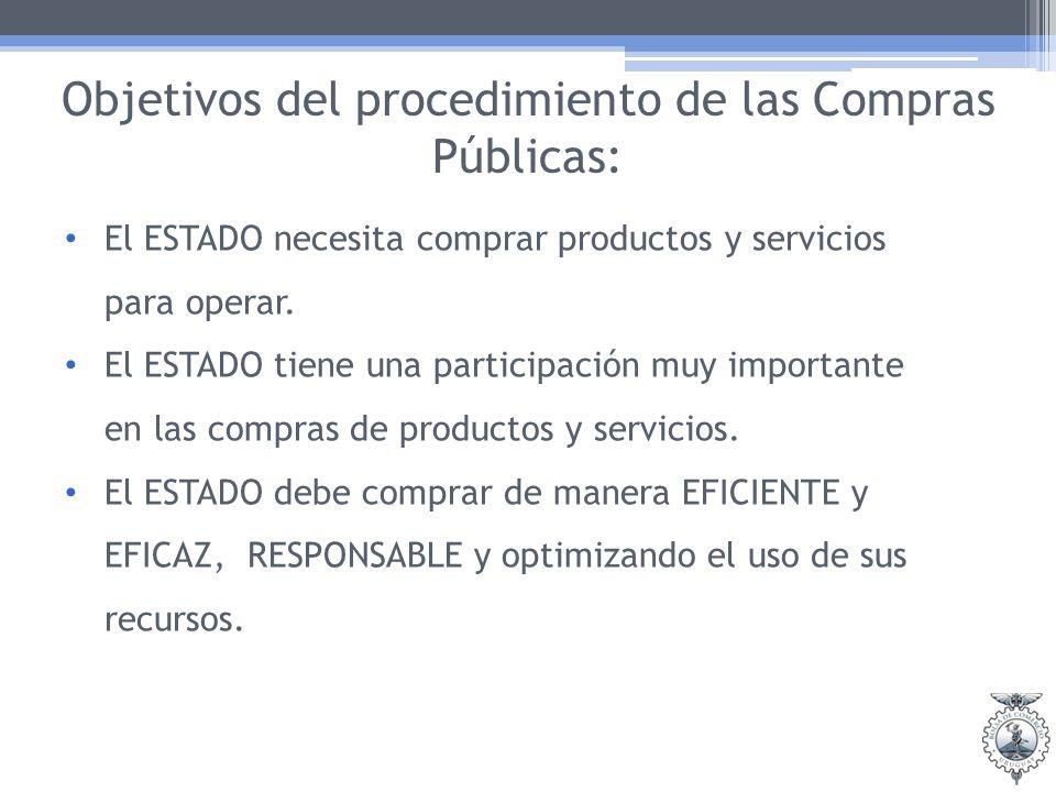 Objetivos del procedimiento de las Compras Públicas: El ESTADO necesita comprar productos y servicios para operar. El ESTADO tiene una participación m