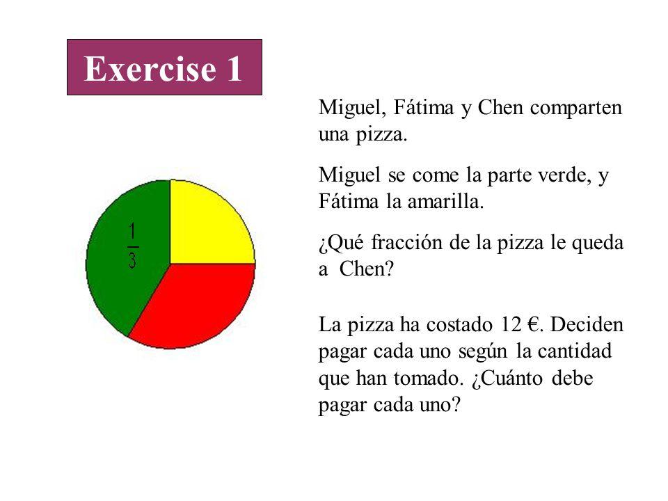 Exercise 1 Miguel, Fátima y Chen comparten una pizza.