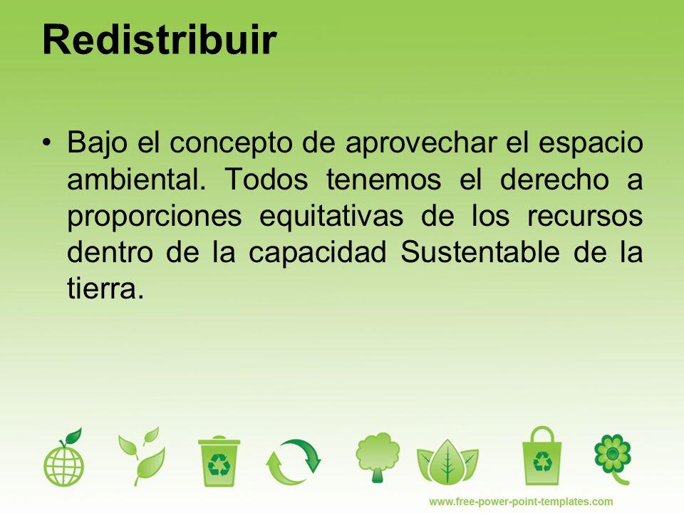 Redistribuir Bajo el concepto de aprovechar el espacio ambiental.