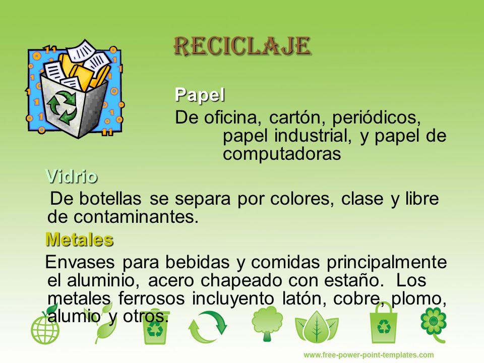 Reciclaje Papel De oficina, cartón, periódicos, papel industrial, y papel de computadoras Vidrio De botellas se separa por colores, clase y libre de contaminantes.