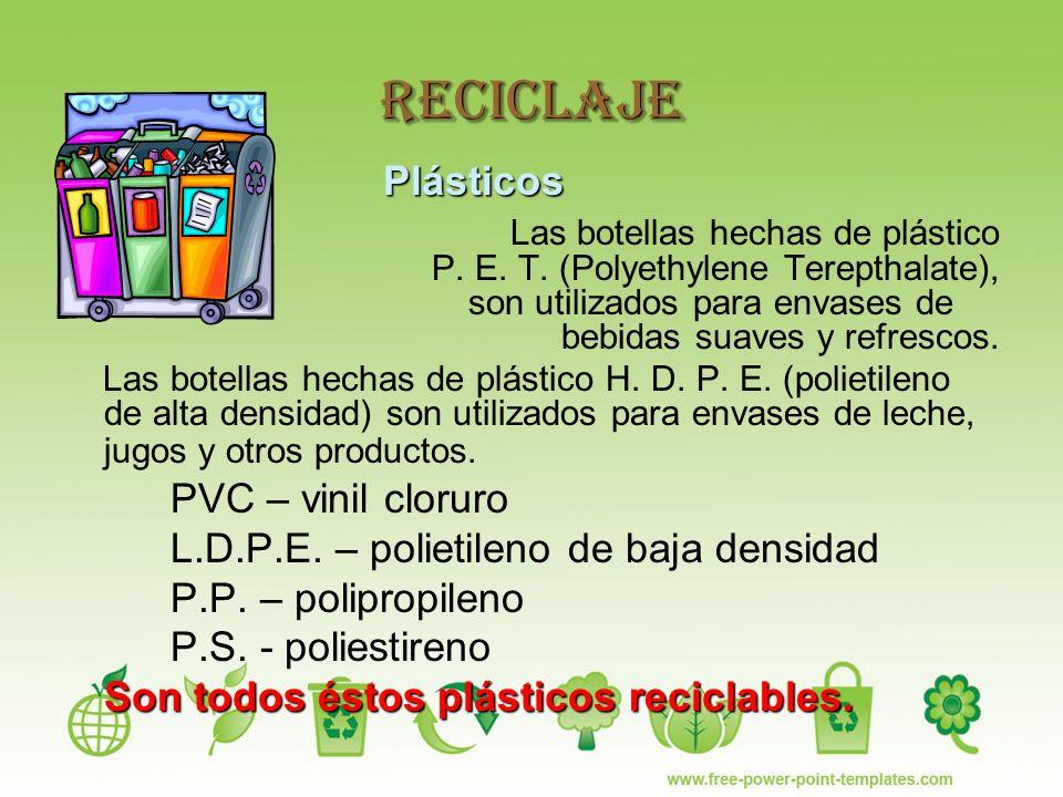 Reciclaje Plásticos Las botellas hechas de plástico P.