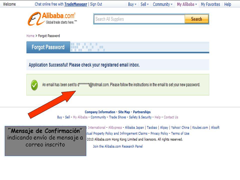 Mensaje de Confirmación indicando envío de mensaje a correo inscrito