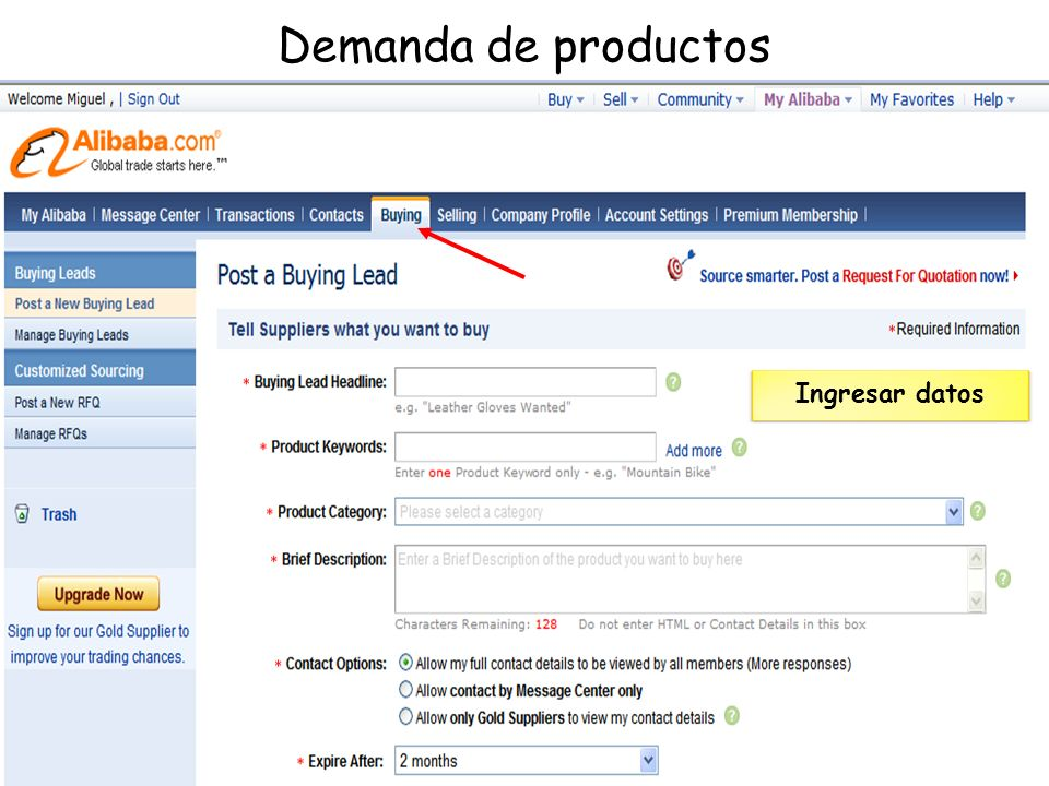 Demanda de productos Ingresar datos