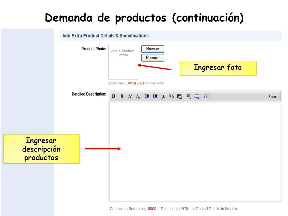 Demanda de productos (continuación) Ingresar descripción productos Ingresar foto