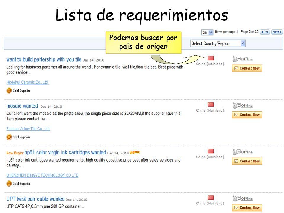 Lista de requerimientos Podemos buscar por país de origen