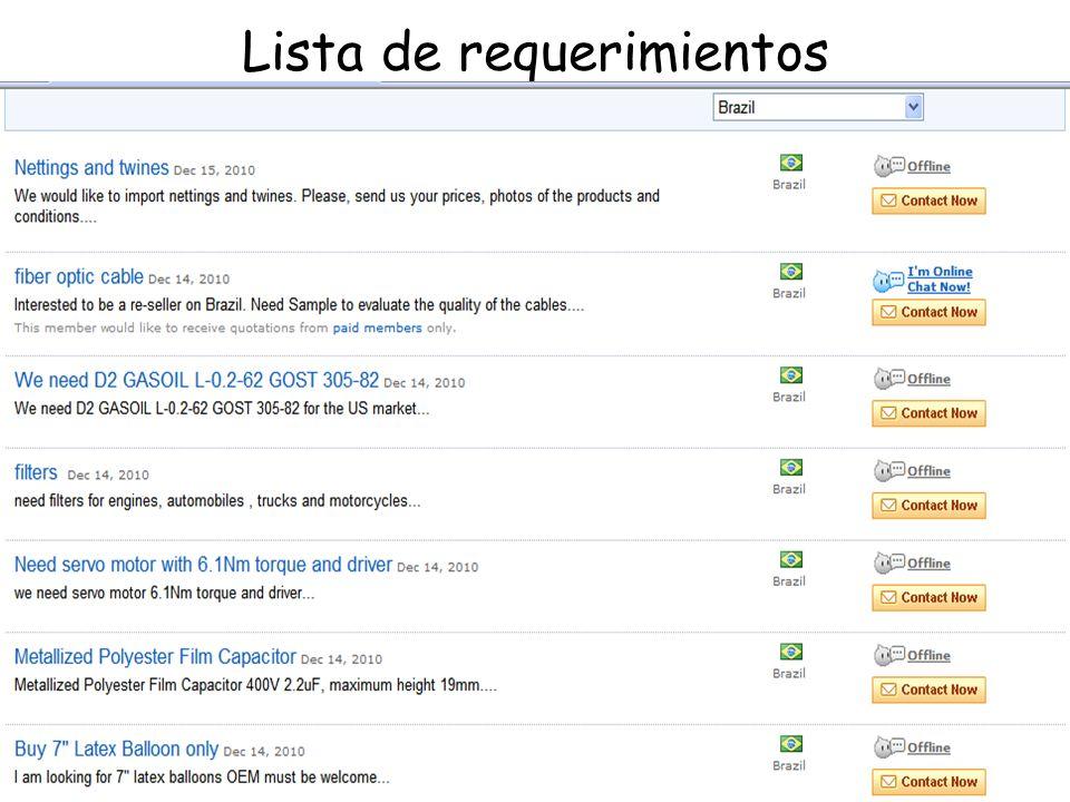Lista de requerimientos
