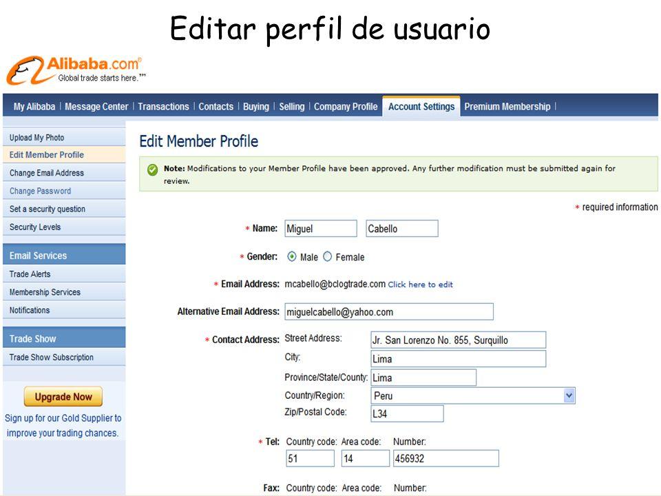 Editar perfil de usuario
