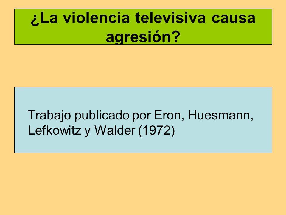 ¿La violencia televisiva causa agresión.