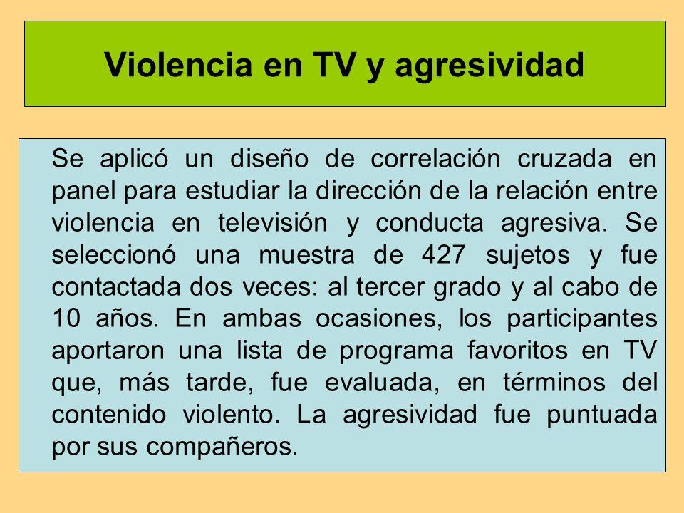 Violencia en TV y agresividad Se aplicó un diseño de correlación cruzada en panel para estudiar la dirección de la relación entre violencia en televisión y conducta agresiva.