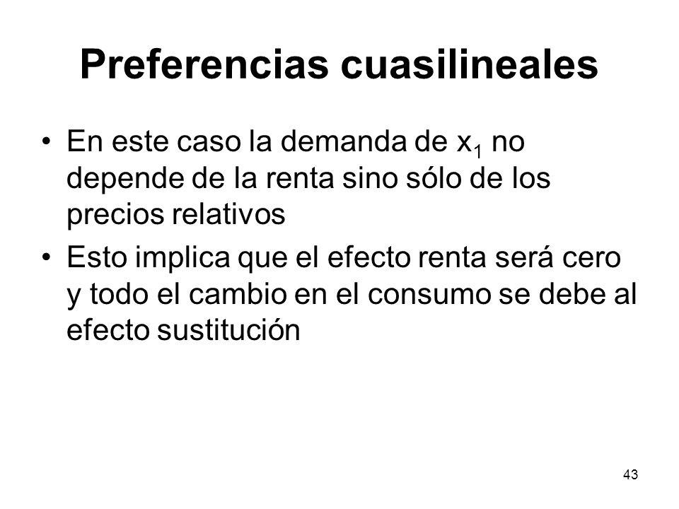 43 Preferencias cuasilineales En este caso la demanda de x 1 no depende de la renta sino sólo de los precios relativos Esto implica que el efecto rent