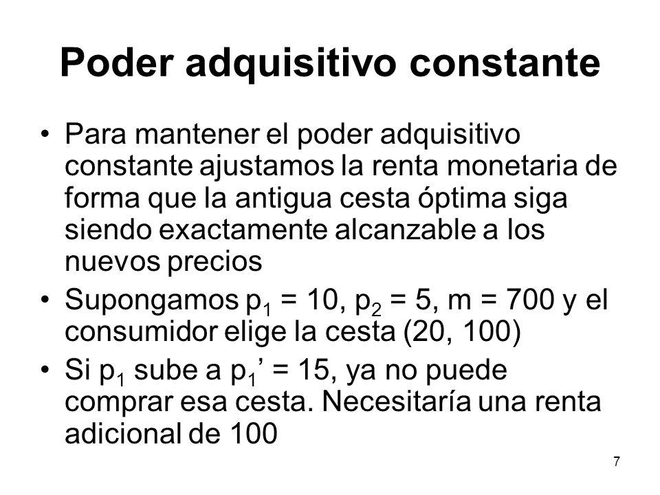 8 Descomposición (Slutsky) x2x2 x1x1 x2*x2* x1*x1* m/p 1 m/p 2 RP inicial Cesta óptima inicial Sea x 1 (p 1,m) la demanda del consumidor como función del precio del bien 1 y de la renta.