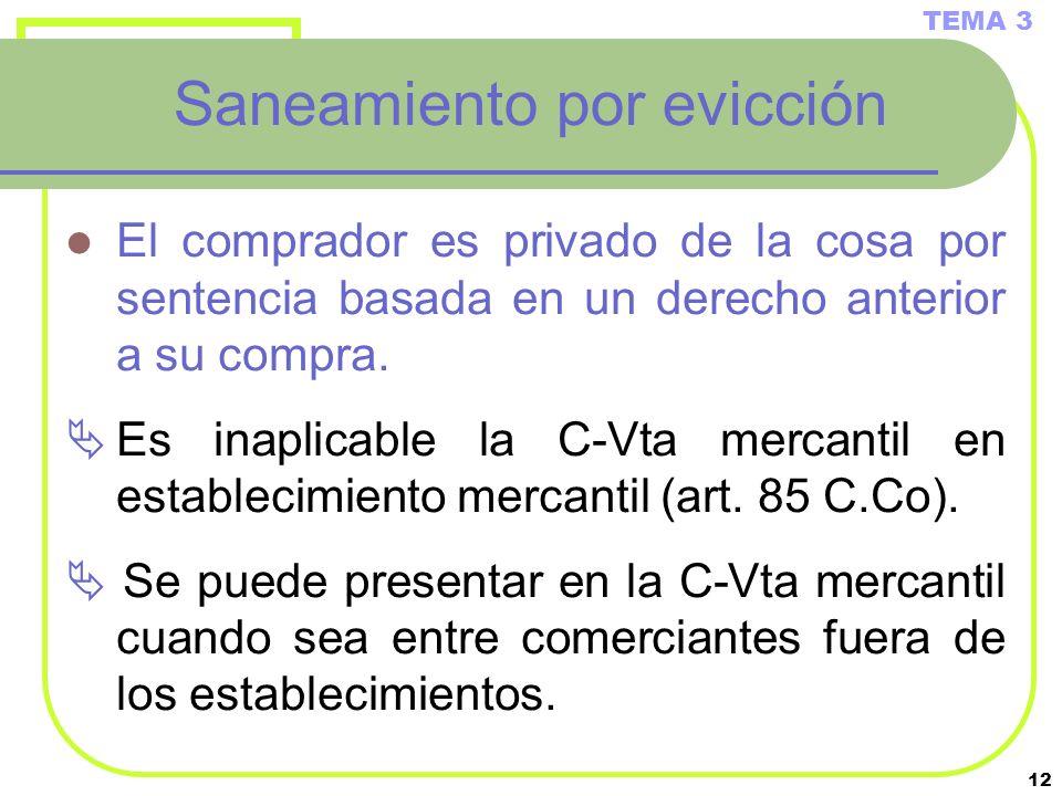 12 Saneamiento por evicción El comprador es privado de la cosa por sentencia basada en un derecho anterior a su compra. Es inaplicable la C-Vta mercan