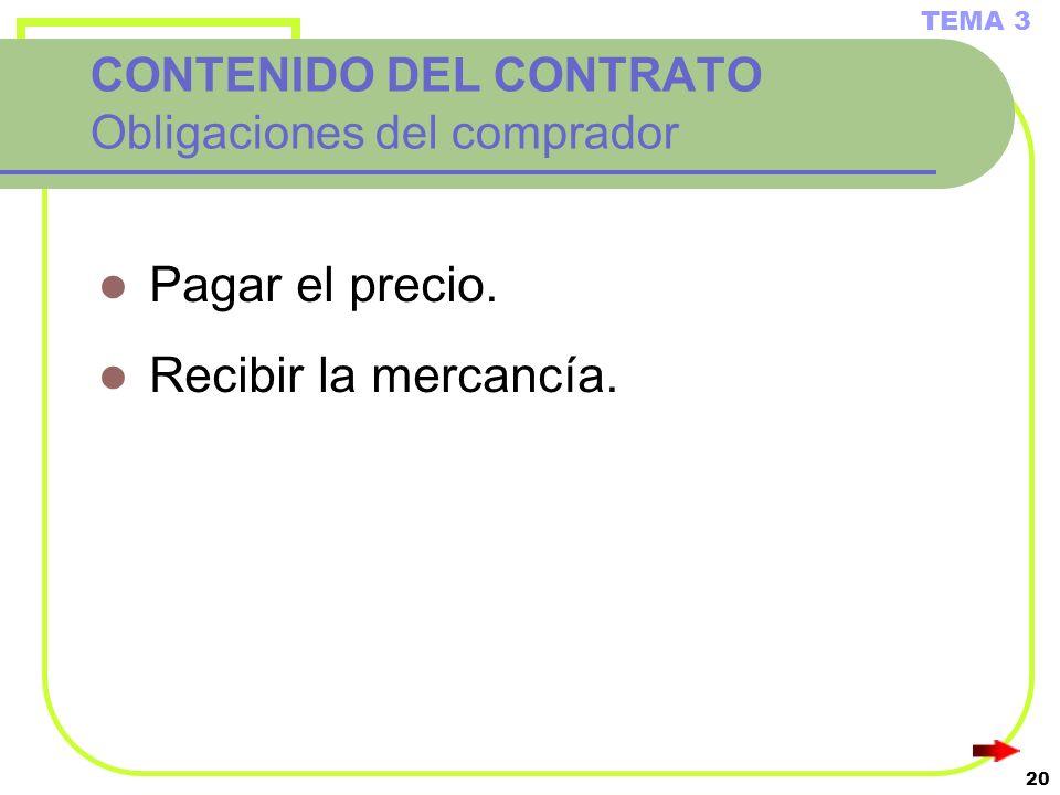 20 CONTENIDO DEL CONTRATO Obligaciones del comprador Pagar el precio. Recibir la mercancía. TEMA 3