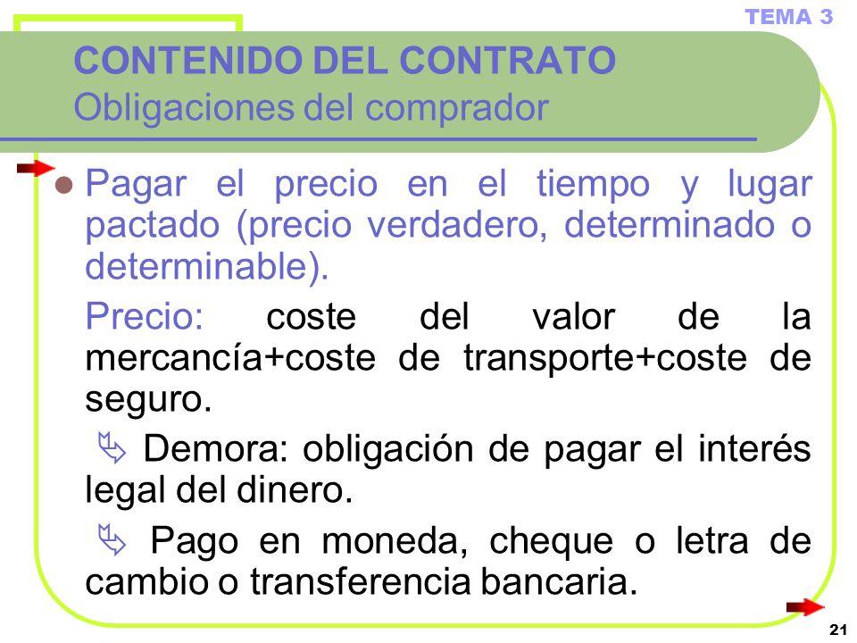 21 CONTENIDO DEL CONTRATO Obligaciones del comprador Pagar el precio en el tiempo y lugar pactado (precio verdadero, determinado o determinable). Prec
