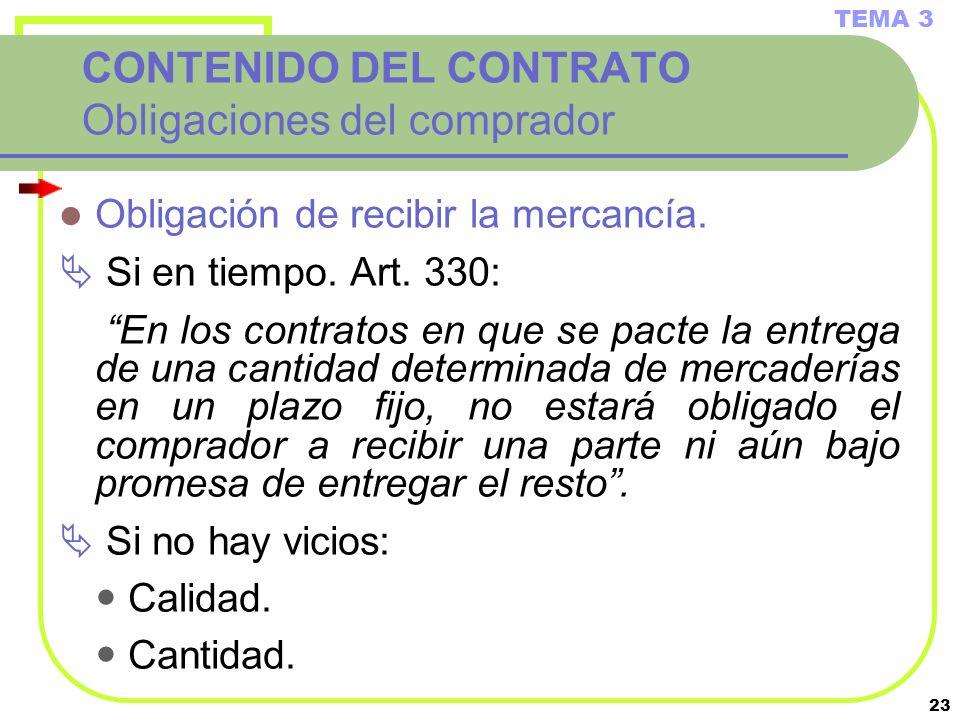 23 CONTENIDO DEL CONTRATO Obligaciones del comprador Obligación de recibir la mercancía. Si en tiempo. Art. 330: En los contratos en que se pacte la e