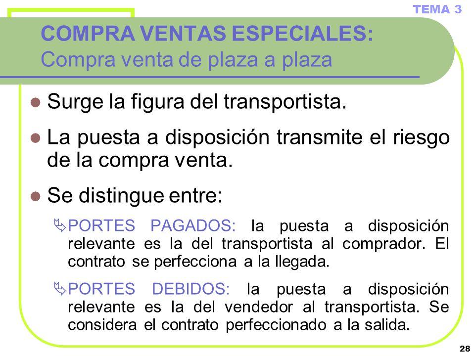 28 COMPRA VENTAS ESPECIALES: Compra venta de plaza a plaza Surge la figura del transportista. La puesta a disposición transmite el riesgo de la compra