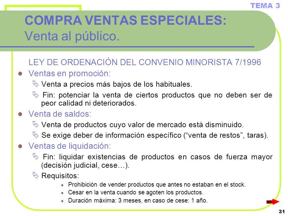 31 COMPRA VENTAS ESPECIALES: Venta al público. LEY DE ORDENACIÓN DEL CONVENIO MINORISTA 7/1996 Ventas en promoción: Venta a precios más bajos de los h