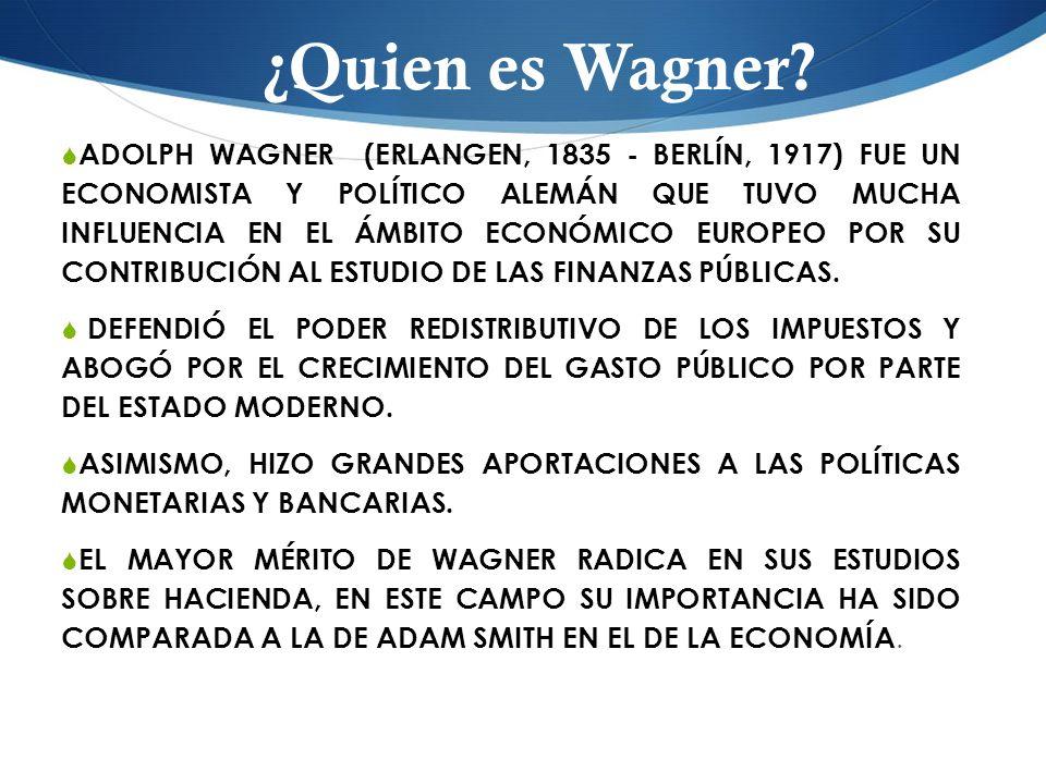 ADOLPH WAGNER (ERLANGEN, 1835 - BERLÍN, 1917) FUE UN ECONOMISTA Y POLÍTICO ALEMÁN QUE TUVO MUCHA INFLUENCIA EN EL ÁMBITO ECONÓMICO EUROPEO POR SU CONT