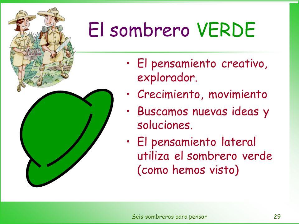 Seis sombreros para pensar29 El sombrero VERDE El pensamiento creativo, explorador. Crecimiento, movimiento Buscamos nuevas ideas y soluciones. El pen