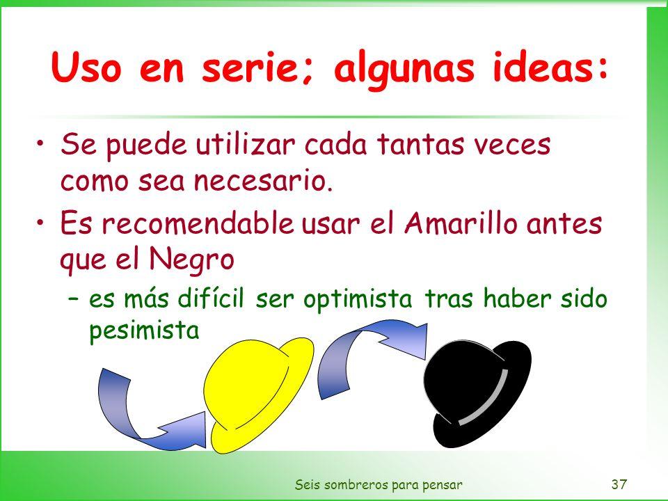 Seis sombreros para pensar37 Uso en serie; algunas ideas: Se puede utilizar cada tantas veces como sea necesario. Es recomendable usar el Amarillo ant